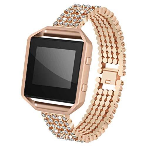 UKCOCO Correa de Reloj Aleación Resistente Al Desgaste Correa de Reloj Inteligente Pulsera de Diamantes de Imitación Reloj de Aleación Elegante Banda de Repuesto Correa de Reloj Casual