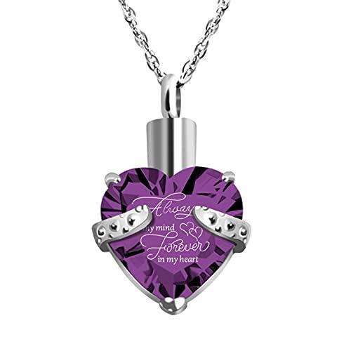 xu Collar con Colgante de Acero Inoxidable con corazón de melocotón y Ceniza de Personalidad Simple 紫色吊坠+项链