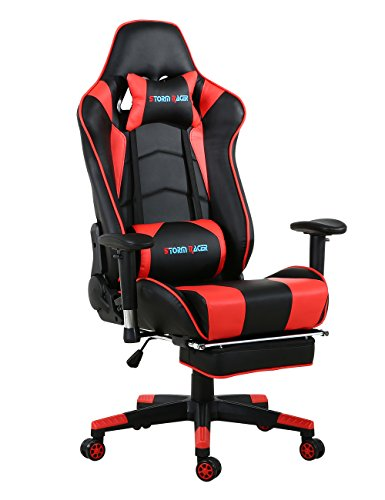Storm Racer Gaming Stuhl PC Racing Gaming Sessel Bürostuhl Schreibtischstuhl mit Gepolsterte Fußstütze (Rot)