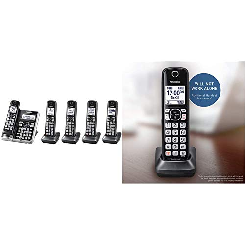 Panasonic Link2Cell Bluetooth Cordless Phone System - 5 Handsets - KX-TGF575S (Silver) & Cordless Phone Handset Accessory Compatible with TGF540/570/TG785 Series - KX-TGFA51B, Black