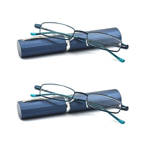 EYE ZOOM 2 Pack Ultra Slim Compact Lightweight Tube Reading Glasses with Portable Clip Aluminum Case, Navy Blue Strength +1.25