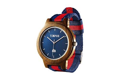 TEMPUS - Willoughby - Men's Wood Watch Minimalist Wooden Wristwatch Striped Nylon Oxford Band - TWW06
