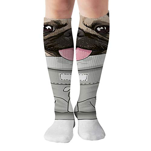 Funny Pug Dog On Front Carrier Beauty Fashion Compression Socks Women And Men,Best For Nurses,Travel,Pregnancy,19.68 Inch