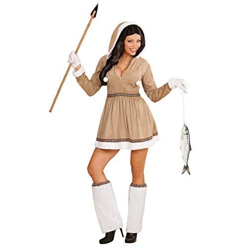 NET TOYS Hübsches Eskimo-Kleid für Frauen - Beige-Weiß S (34/36) - Cooles Damen-Kostüm Inuit - Genau richtig für Fasching & Kostümfest