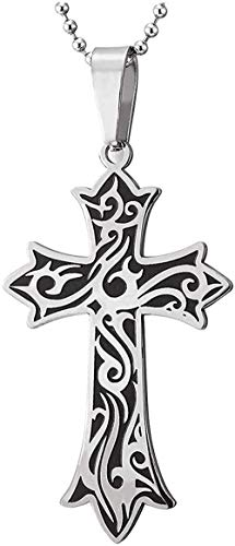 YOUZYHG co.,ltd Retro Necklace for Men Stainless Steel Tribal Tattoo and Cross Charm