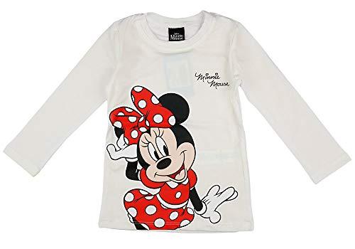 Minnie Mouse Disney Mädchen Pulli Langarmshirt in Größe 80 86 92 98 104 110 116 122 Baumwolle Longsleeve Weiß Rosa Gemustert Farbe Modell 11, Größe 104