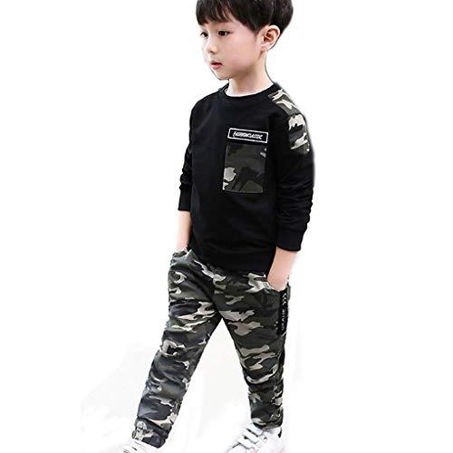 Genmoral Kinder Sportanzug für Jungen und Mädchen Outwear Langarm Bekleidungsset Trainingsanzug (6 Jahre, Schwarz)