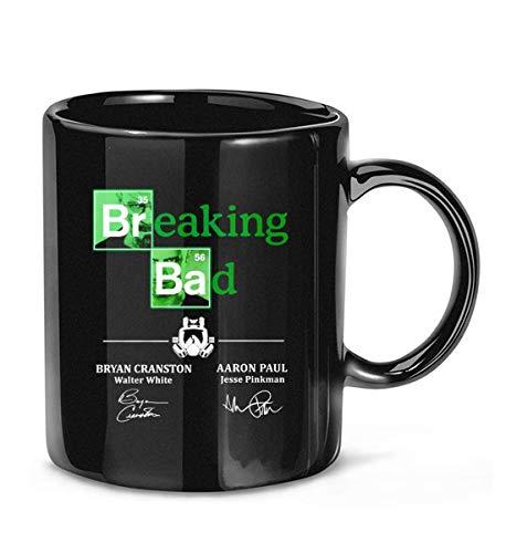 Taza de café con texto 'Breaking Bad elen', firmada por Aaron-Paul Bryan-Cranston