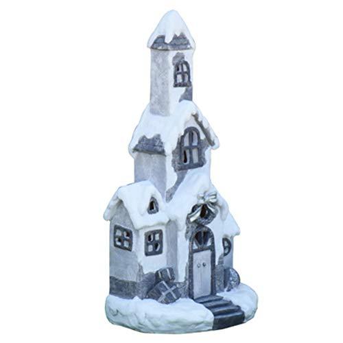 DLP Estatua de resina de Navidad, casa de esquí, escultura, dibujos animados, adornos de arte, estatuilla para decoración - 17 26 x 18 x 54 cm (10 x 7 x 21 pulgadas)
