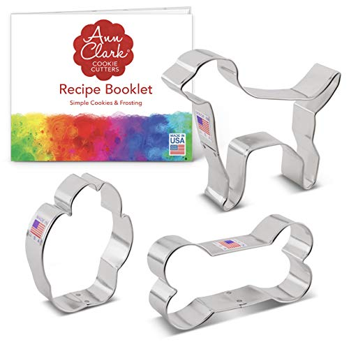 Ann Clark Cookie Cutters 3-Piece Dog Cookie Cutter Set with Recipe Booklet,...