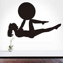 nkfrjz Pegatinas de Pared Extraíble Arte PVC Chica con Una Bola Pilates Fitness Tatuajes de Pared Yoga Deportes Ejercicio Gimnasio Mural Home Room Decor 59X40CM