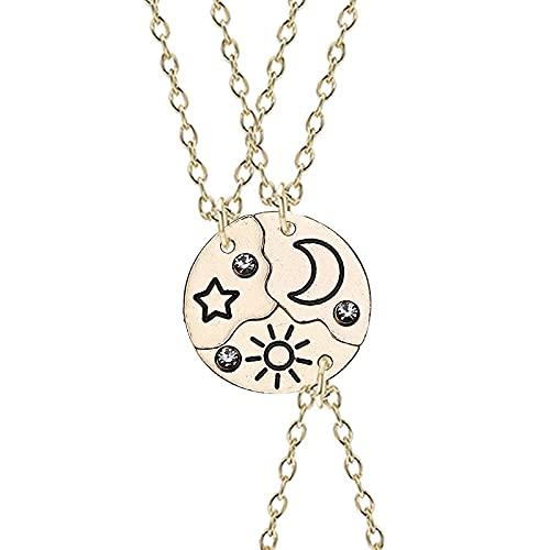 fafafa Juego de 3 piezas de collar con colgante de estrella de sol y luna, mejor amigo Bff, amistad, collar de pareja, joyería de moda (color metálico: oro)