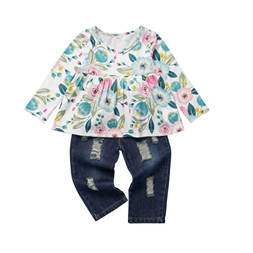 WOCACHI Baby Girls Pants Sets Sale, Toddler Baby Girls Floral Tops T-Shirt Ripped Jeans Hole Denim Pants Outfits Set Newborn Mom Daughter Son Coverall Layette Sets Best Gift Multi Adorable Outfits