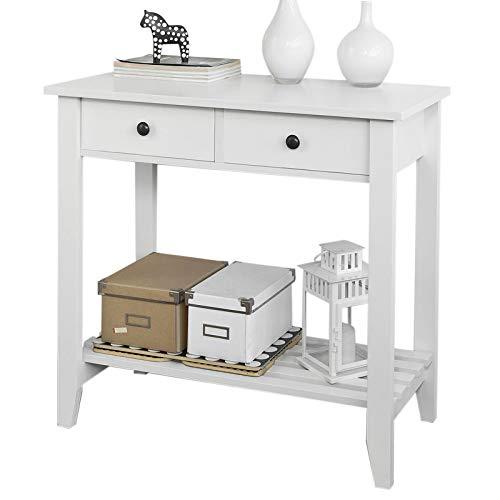 SoBuy FSB04-W Konsolentisch mit 2 Schubladen und 1 Ablage Flurschrank Sideboard Beistelltisch Küchenschrank BHT: ca. 85X40X80cm weiß