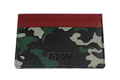 Zippo Leather credit card holder Porta carte di credito 10 centimeters Verde (Green Camouflage)
