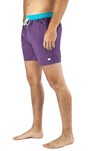Mens Swim Trunks - Quick Dry with Pockets - Retro - Swimming Trunks - Swim Shorts - Purple (Large)