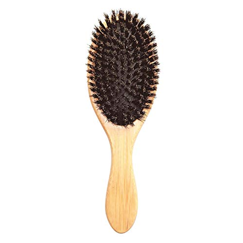 Peine de masaje para el cabello Cepillo azul Mango de bambú natural Cerdas de jabalí Paleta de cuero cabelludo antiestático Cepillo para el cabello Gasbag Cuidado A