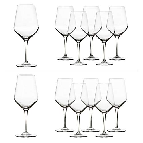 Bluespoon Wijnglazen Set 'Select' 12-delig | Gastronomiekwaliteit | Inhoud rodewijnglas 55 cl | inhoud witte wijnglas 44 cl | perfecte glans