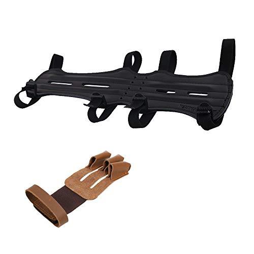 Inzopo - Protector de brazo con arco de piel para tiro con arco y 3 dedos