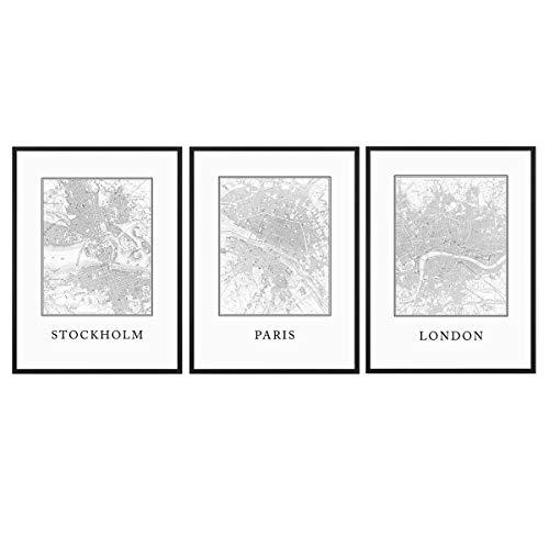 PHOTOLINI 3er Set Schwarz-Weiss Poster No.39 mit Bilderrahmen Schwarz 30x40 cm Stadtkarten London Paris Stockholm