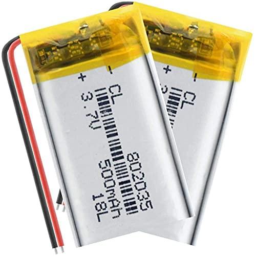 3,7 V 500 Mah 802035 Batería De Polímero De Litio Recargable para Reloj Inteligente Auricular Bluetooth Grabadora De Voz-2 Piezas