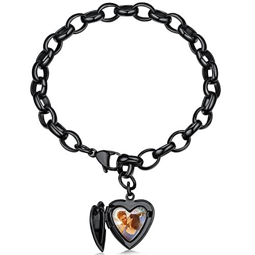 Custom4U Locket Corazón con Imagen para Manos Pulseras Negras Personalizadas Acero Inoxidable 316L Joyería con Fotografía Personalizable Regalo Cumpleaños