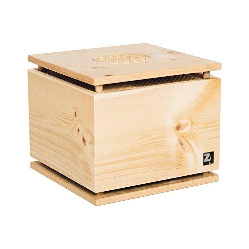 ZirbenLüfter ® Cube Pure für ca. 40 m2 | Luftbefeuchter | Luftreiniger aus Zirbenholz | Boden-/Abdeckplatte ist aus Zirbenholz mit Blume des Lebens | Lichttherapie: EIN/AUS | Farben: ROT, BLAU, PINK