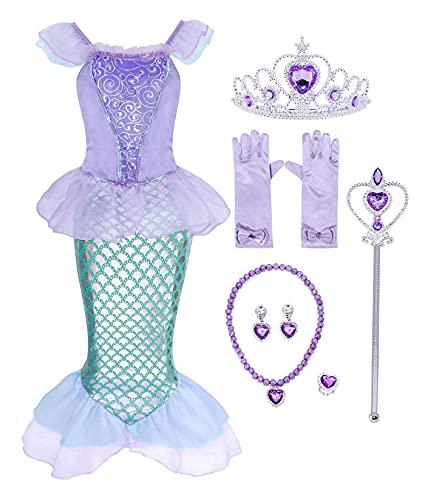 AmzBarley Sirena Vestido Niña Sirenita Princesa Disfraz Ropa Niña Cumpleaños Accesorios Boda...