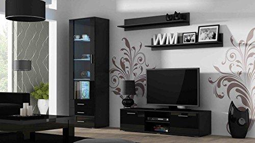 Wohnwand 'Soho 7' Hochglanz Wohnzimmerschrank Tv Wand , Farbe:Schwarz