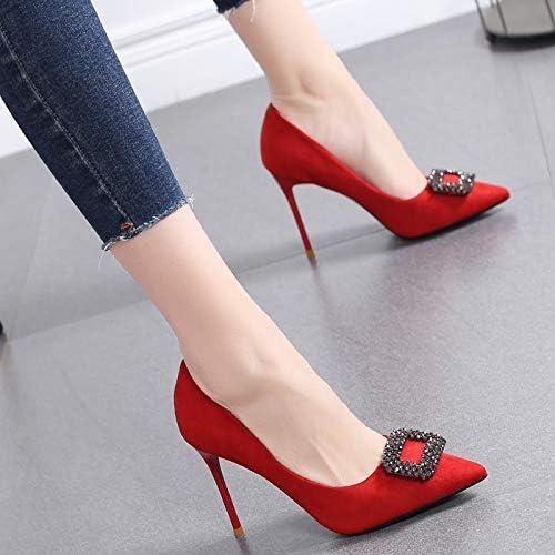 HRCxue Pumps Spitze einzelne Schuhe Weißliche Strass Temperament Frauen Schuhe Bankett Flache Schuhe Wilde Mode High Heels Weißlichen Stilett