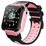 HQPCAHL GPS Reloj Inteligente Niña Impermeable Smartwatch Localizador GPS Niños Pulsera Inteligente Reloj Inteligente Regalo, con Llamada Telefónica SOS Despertador GPS Tracker Podómetro,Rosado