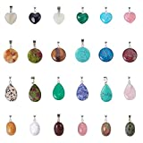 PH PandaHall 24pcs 4 Styles Quartz Gemstone Charms Chakra Stone Charm Pendants Heart Flat Round Oval Drop Beads for Necklace Bracelet Jewelry Making