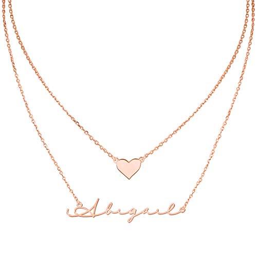MissChic Personalisierte Anhänger Halskette, Geschichtete Halskette, Namenskette, Silber Personalisierte Kette,18K Rosegold/Gold Vergoldet Halskette, aussagekräftige Halskette, Herz Halskette