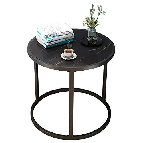 ZWJLIZI Sofa Beistelltisch, schmiedeeisernen Rundnachttisch/Nachmittagstee Tisch, Marmor Textur Tischplatte (Φ60x43cm) (Color : B)