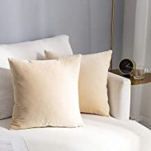 In House Ivory Beige Velvet Decorative Solid Filled Cushion, 25 * 25 centimeter
