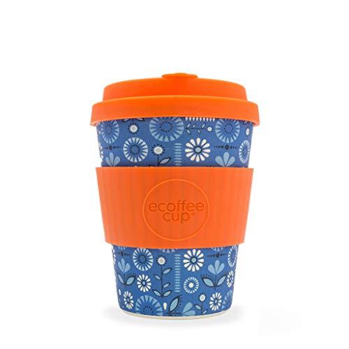 Ecoffee Cup Dutch Oven Blau, Kaffeebraun (Kaffee, Solo, 0,34 l, Blau, Orange, Bambusfaser, 1 Stück)