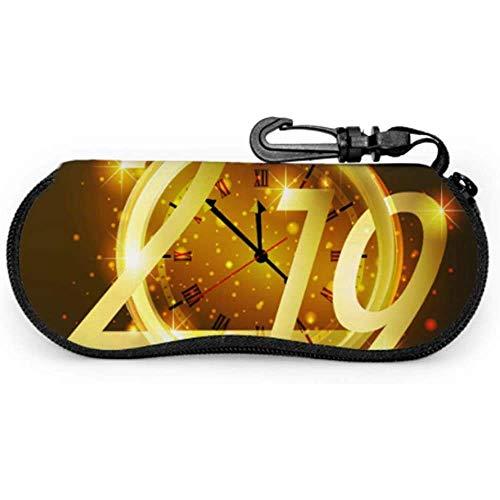 lymknumb 2019 Feliz año nuevo Número Universal Gafas de sol Estuche Funda de anteojos con cremallera suave Cremallera Estuche suave Estuche de gafas al aire libre