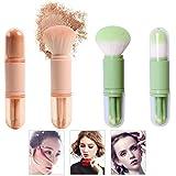 TANGGER Mini Juego de Pinceles de Maquillaje 4 en 1,Brocha de Maquillaje de Viaje Mini Portáti Brocha para Sombra de Ojos y Brocha para Polvos Sueltos,2 set