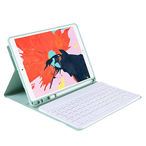 TPU Leather Protective Tablet Case for I Pad Pro 12 9 12.9 2020 2018 3rd 4th Case Cover Bluetooth Keyboard with Pencil Slot-Light green_iPad mini 2345