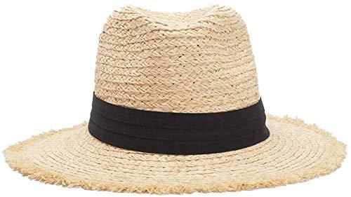 Unisex Raue Sonnenhut Hawaii-Strand-Ferien-Strohhut mit Kinn Spanngurt Faltbare (Farbe: Hell Khaki, Größe: 56-58cm) Hut für den Außenbereich (Color : Light Khaki, Size : 6 7/8-7 1/8)