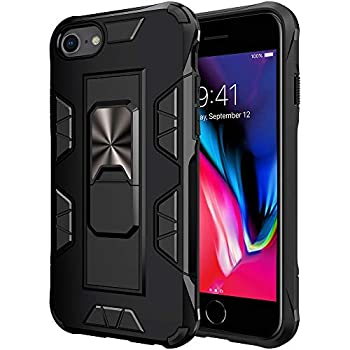 iPhone 8 Case iPhone 7 iPhone 6 Case iPhone SE2 Military Grade Built-in Kickstand Case Holster Armor Heavy Duty Shockproof Cover Protective for iPhone 8/7/6/6S/SE2 Phone Case  Black