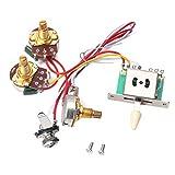Milisten Arnés de Cableado de Guitarra Eléctrica Potenciómetro de Guitarra Eje Dividido Interruptor de 5 Vías con Controles de Volumen Y Tono Pot 250K
