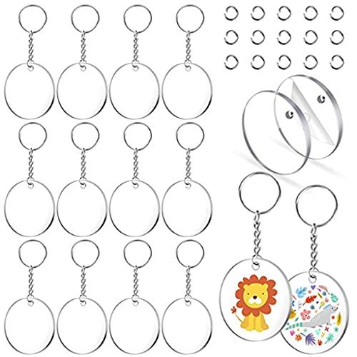 Yousiju Llavero acrílico en blanco, 108 llaveros transparentes para kit de vinilo, incluyendo 36 piezas en blanco acrílico, anillos de salto para llavero DIY (color : A, tamaño: talla única)