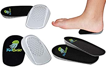 Black Jelly Premium Heel Cups/Heel Pads With Super Adhesive Gel Bottom US Kid's Size 1-6. Brand New 2017 Release by KidSole. (2 Pairs)