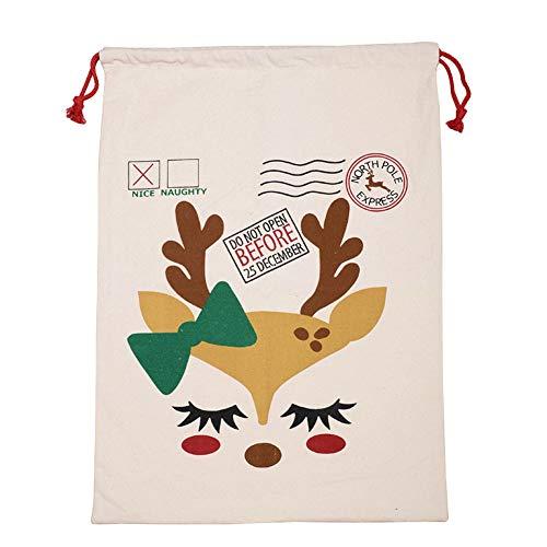 ASR Canvas Christmas Candy Bag - Bolsa para aperitivos, joyas, joyas, 50 x 70 cm (A)