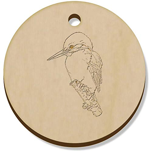 Azeeda 11 x 34mm 'Perched Kingfisher' Wooden Pendants / Charms (PN00062128)