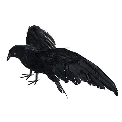 Corona decorativa de Halloween, corona artificial realista, antipjaros, hecha a mano con plumas negras, adorno de Halloween para decoracin de paredes de rboles, ventana