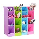 Organizador de escritorio para lápices, caja de almacenamiento multifunción con 4 compartimentos,...