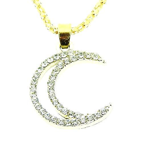 Vrouwelijke ketting - vrouw - segment - maan - zeis - hanger - lichtpunten - goud - kerstmis - origineel cadeau-idee strass