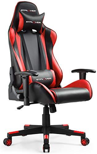 GTPLAYER Gaming Stuhl Rot Bürostuhl Gamer Ergonomischer Stuhl Einstellbare Armlehne Einteiliger Stahlrahmen Einstellbarer Neigungswinkel